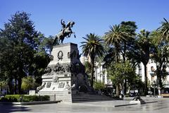 Plaza san martin square with equestrian statue, cordoba, argentina, south ame Stock Photos