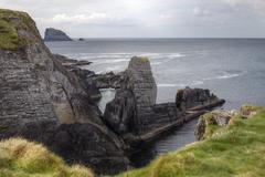 rocky coast, three castle head, mizen head peninsula, west cork, republic of  - stock photo