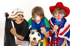 soccer fans, various flags, football - stock photo