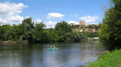 Hillside town of Beynac as seen from the Dordogne river - Beynac France - HD 4k+ Stock Footage