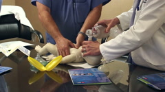 Two doctors practicing CPR on baby dummy Stock Footage