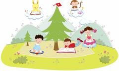 Students reading books, illustration Stock Illustration