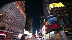360 View of Times Square in New York City NYC Night Slow Motion Beautiful USA Stock Footage