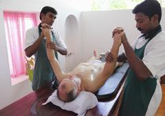 abhyanga oil massage, ayurvedic treatment, bethsaida hermitage near kovalam,  - stock photo