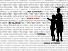 Data security in social networks on the internet, google-buzz, facebook, wer- Stock Illustration