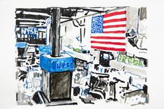 new york, nyse, new york stock exchange, drawing, artist gerhard kraus, krift - stock illustration
