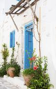 Architecture on the cyclades. greek island buildings with her typical blue do Stock Photos