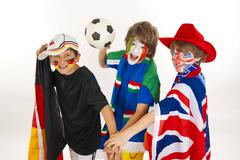soccer fans, various flags, football - stock photo