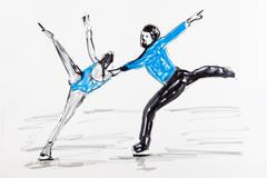 Stock Illustration of drawing, figure skating, artist gerhard kraus, kriftel