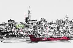Stock Illustration of hamburg harbor and the lightship elbe 1, hamburg, schleswig-holstein, north g