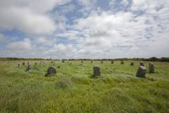 Stock Photo of The Merry Maidens a 3000 to 4000 year neo lithic old stone circle Lamorna