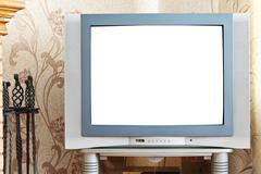 old crt tv with cut out screen - stock photo