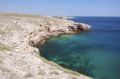 Crocodile rock, peninsula tarhankut, tarhan qut, crimea, ukraine Stock Photos
