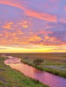 bach im abendrot, seljalandsfoss, island stream in the afterglow of the sunse - stock photo
