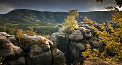 Stock Photo of View from Kuhstall lookout Elbe Sandstone Mountains Saxony Germany Europe