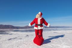 nice winter day, a good santa - stock photo