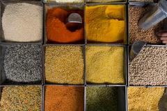 Various spices and lentils at a market Jodhpur Rajasthan India Asia - stock photo