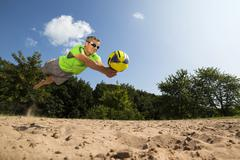 Beach volleyball player 44 years Schorndorf Baden Wurttemberg Germany Europe Stock Photos