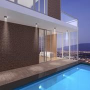 Penthouse with a pool 3D illustration - stock photo