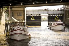 Two ships in the lock Hamburg Port Hamburg Hamburg Germany Europe Stock Photos