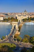 Stock Photo of View across the Danube to Pest from the Buda Castle Hill with the Szechenyi
