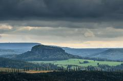 Stock Photo of view towards lilienstein mountain, lilienstein, elbe sandstone mountains, sax