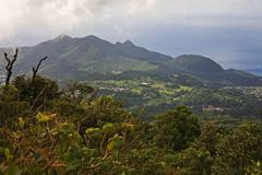 View towards Saint Claude from La Soufriere volcano Saint Claude - stock photo