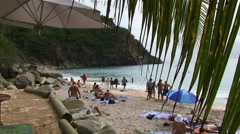 Tropical tourist beach in carribean St Bart - stock footage