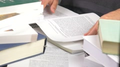 4K Textbook Student Studying Turning Pages Stock Footage