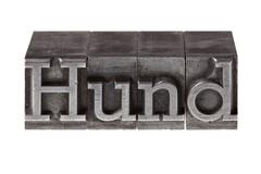 """Old lead letters forming the word """"hund"""", german for dog Stock Photos"""