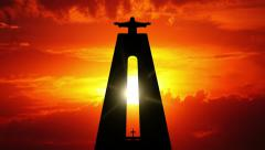 Cristo rei and sunrise. timelapse Stock Footage