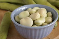 broad beans or fava beans - stock photo