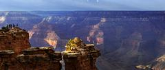 View of the Grand Canyon in the evening light viewing point Mather Point South - stock photo