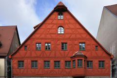 Stock Photo of Half timbered facade being restored historic district Fuerth Middle Franconia