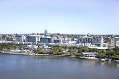 Arial view of South Bank Parklands, located at South Bank in Brisbane - stock photo