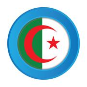 3d button with the flag of algeria Stock Illustration