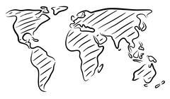 World map sketch Stock Illustration