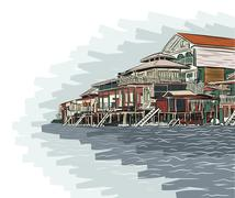 canalside buildings - stock illustration