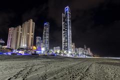 Gold Coast City, Surfers Paradise  cityscape by night Stock Photos