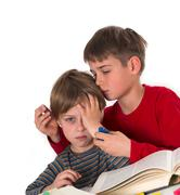 boy calms his younger brother - stock photo