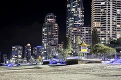 Stock Photo of Gold Coast City, Surfers Paradise  cityscape by night
