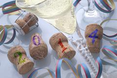 Champagne corks and champagne New Years Eve 2014 Kuvituskuvat