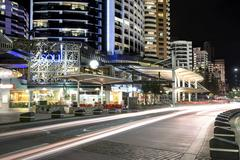 Night traffic trails on Surfers Paradise Esplanade Stock Photos