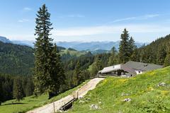 Hut on the Schreck Alm alpine pasture Geigelstein Nature Reserve Aschau im - stock photo