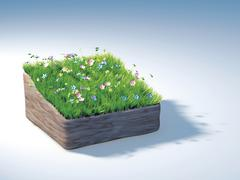 Piece of land with a flowering meadow illustration - stock illustration