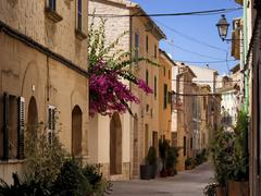 Narrow alleyway Alcudia Majorca Balearic Islands Spain Europe Stock Photos