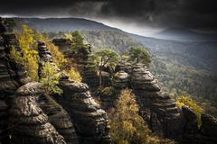Stock Photo of View from Schrammstein lookout point Elbe Sandstone Mountains Saxony Germany