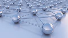 Grid of spheres 3D illustration Stock Illustration