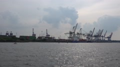 4k Hamburg docks on boat trip round the Hamburg harbour - stock footage