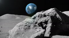 View from space. Turning globe, lunar surface, moon. Stock Footage